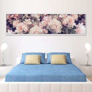 Image 4 - Набор для вышивания крестом, рукоделие, Большой Набор для вышивания, белый, фиолетовый, принт розовый цветок пиона, Декор стен на свадьбу