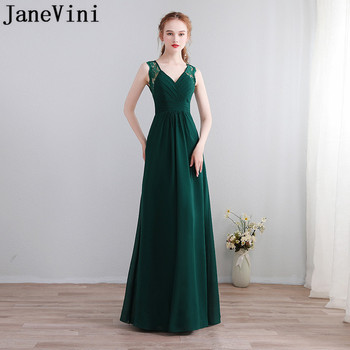 JaneVini Simple Dark Green Chiffon Bridesmaids Dress Jurken Lang Sexy V-Neck Keyhole Back Long Graduation Dresses Wedding Party
