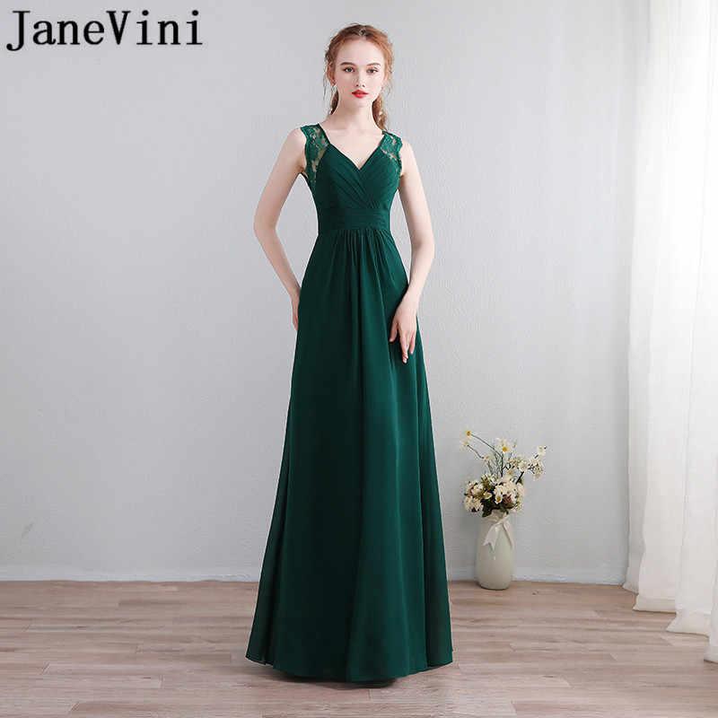 fef1df9d9be JaneVini Simple Dark Green Chiffon Bridesmaids Dress Jurken Lang Sexy  V-Neck Keyhole Back Long