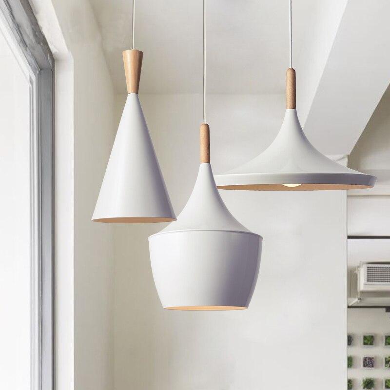 Eğim iç mekan aydınlatması eğim kolye ışıkları ahşap ve alüminyum lamba restoran bar kahve yemek odası LED asılı aydınlatma armatürü