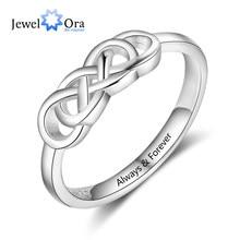 Anillos de Compromiso de boda personalizados para mujer, nombre grabado, anillo de nudo trenzado, regalo de joyería (JewelOra RI103843)