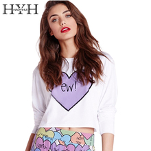 HYH HAOYIHUI Letter Printed Crew Neck White Women T-shirts Long Sleeve Short Top Tees Casual Heart Print Cropped Tops yellow letter print crew neck top