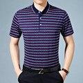2017 de verano de rayas camisa de polo de algodón hombres de manga corta slim fitness polos masculinos trajes de negocios y casuales camisetas polos