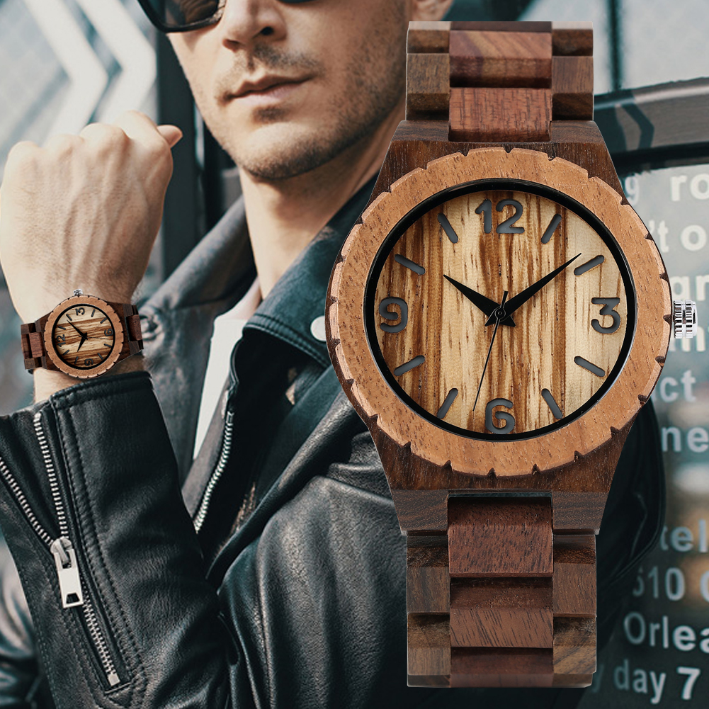 Men's Wooden Watch Black Ebony Walnut Wooden Watches for Male Wooden Strap Wooden Wristwatch(China)