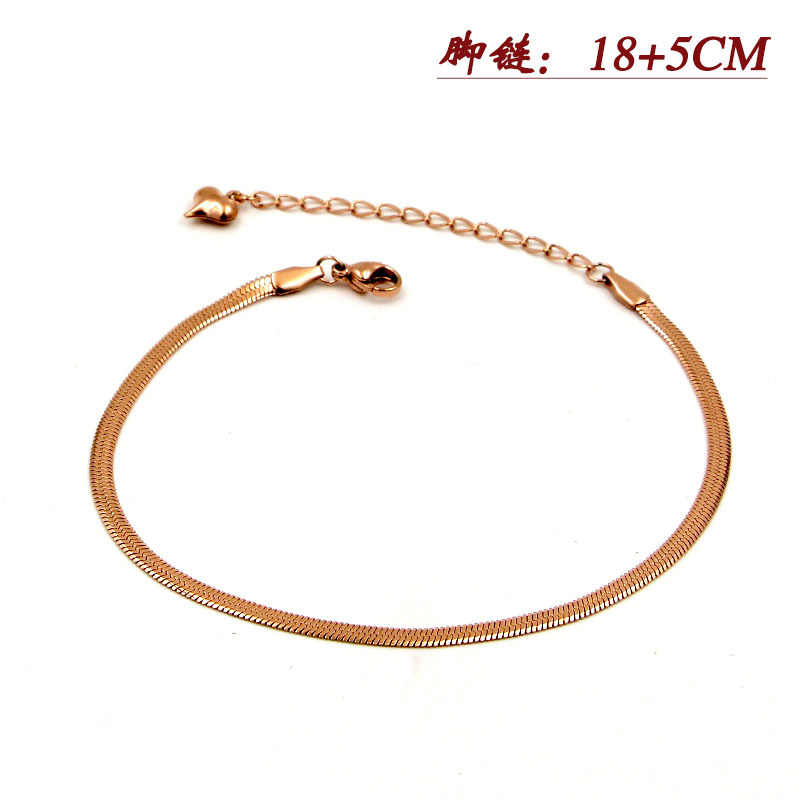Fashion Stainless Steel OL Style Love Snake Chain Ankle Bracelet Rose Gold Color Foot Heart Anklets Woman Girl Lady Gift