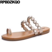 Diamond Slip On Pearl Women Sandals Flat Summer 2018 Rhinestone Shoes Slides Holiday Crystal Brown Toe Ring Soft Embellished