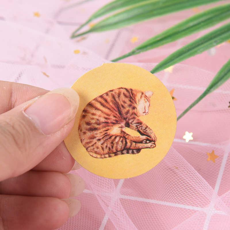 40 cái/hộp Mini Phim Hoạt Hình Mèo Giấy Niêm Phong Dán Memo Pad Diy Thẻ Văn Phòng Phẩm Trang Trí Sticker