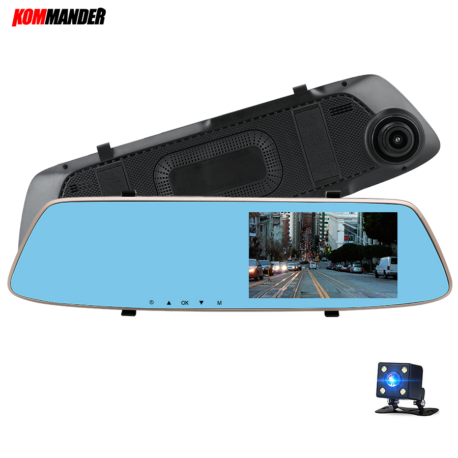 Kommander 5 inches Full HD 1080P Car DVR for Car with Night Vision Rear-view Mirror Dual Camera DVR with Touch ,Parking Monitor axiom car vision 1100 page 5