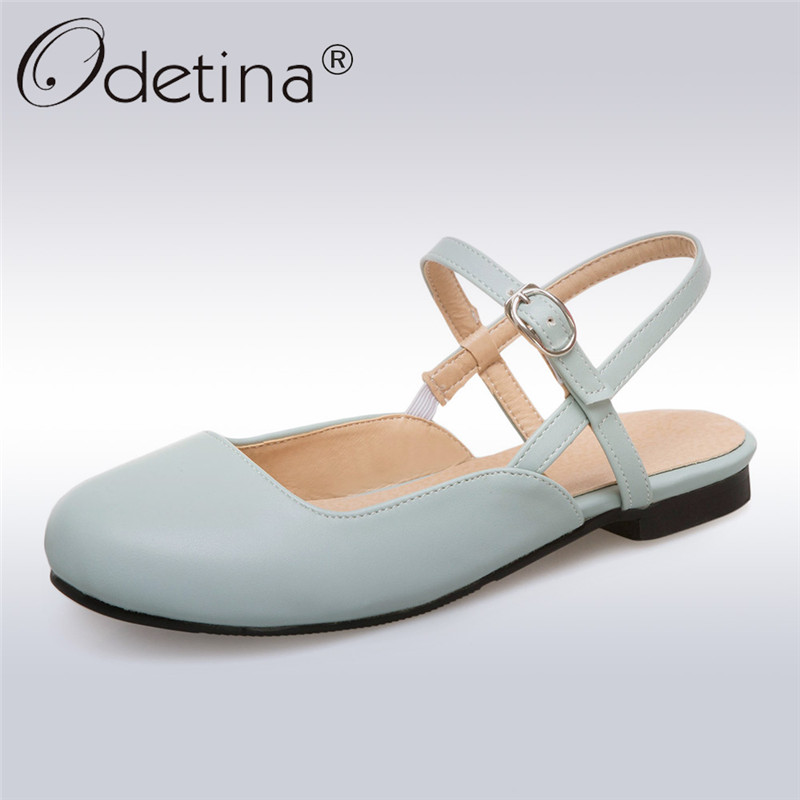 Odetina New Fashion Women Sweet Slingbacks Sandals Soft Flats Heels Round Toe Ankle Strap Pinky Color Shoes Summer Plus Size 43