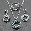 Único Azul Safira Criado Verde Esmeralda 925 Sterling Silver Conjunto de Jóias Mulheres Tamanho do Anel 6/7/8/9/Caixa de 10 Dom Gratuito T294