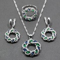 Unique Blue Created Sapphire Green Emerald  925 Sterling Silver Women Jewelry Set Ring Size 6/7/8/9/10 Free Gift  Box T294