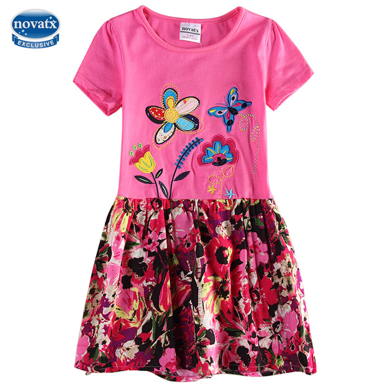 novatx H6250 Kids Girl Dress for Baby Clothing Summer Style Fashion Floral nova kids wear Cotton Casual Dress For Children Girls 2017 autumn girl long sleeves dress fashion baby casual kids cotton dress print rainbow 3 8 year old children s clothing lh6010