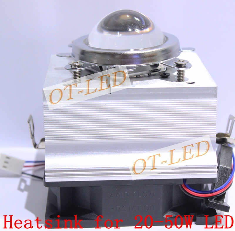DIY High Power LED Cooling Aluminum Heatsink Fan Cooler + 44.5mm LED LENS + Base Bracket For 20W - 50W DIY Led Lamp Light high power dimmable 189mm led r7s light 50w cob r7s led lamp with cooling fan replace 500w halogen lamp