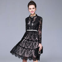 Black Midi Lace Dress Plus Size Women Occasion Party Dresses Belted Embellished M To 4xl 5xl