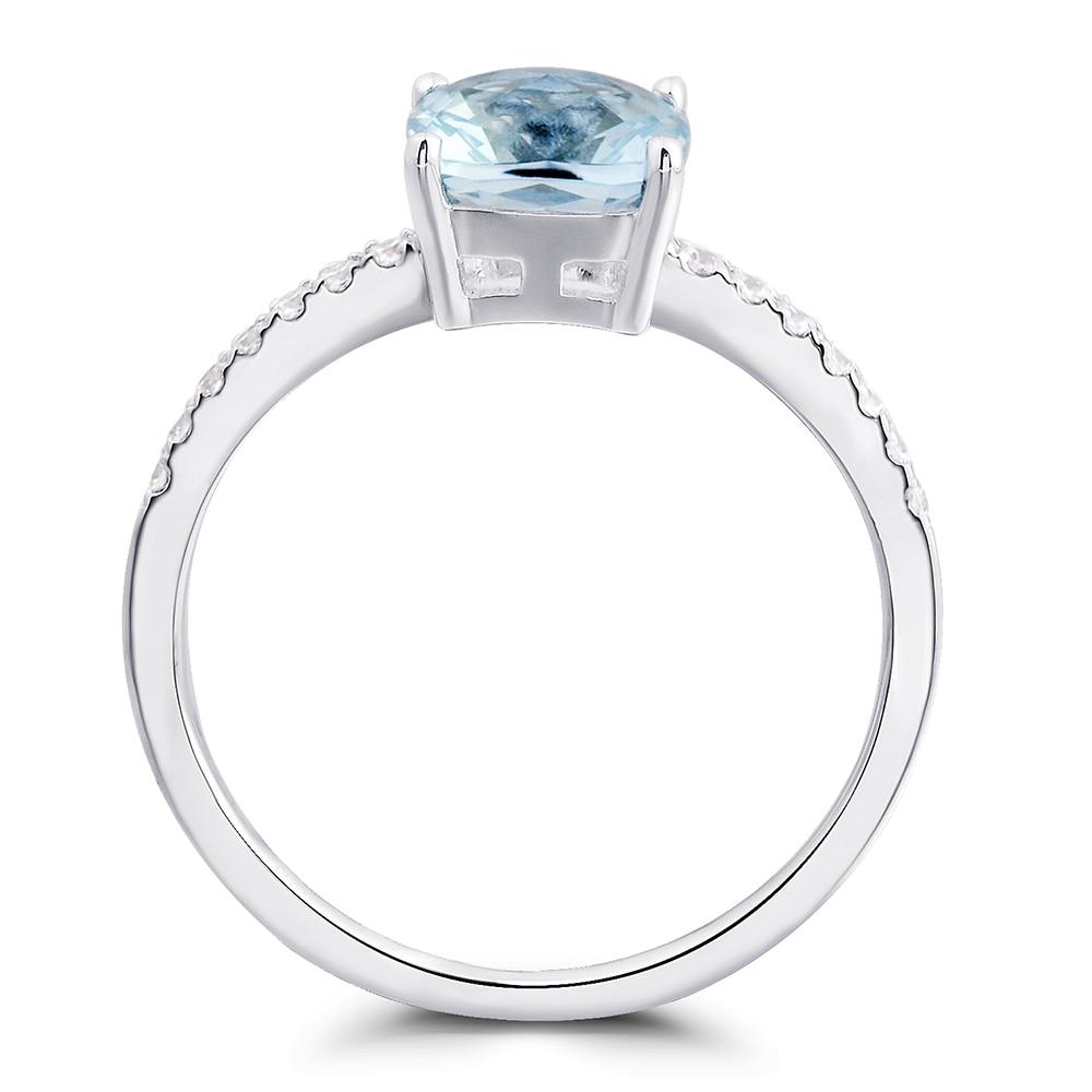 Leige Jewelry Aquamarine Ring März Birthstone 925 Sterling Silber - Edlen Schmuck - Foto 2
