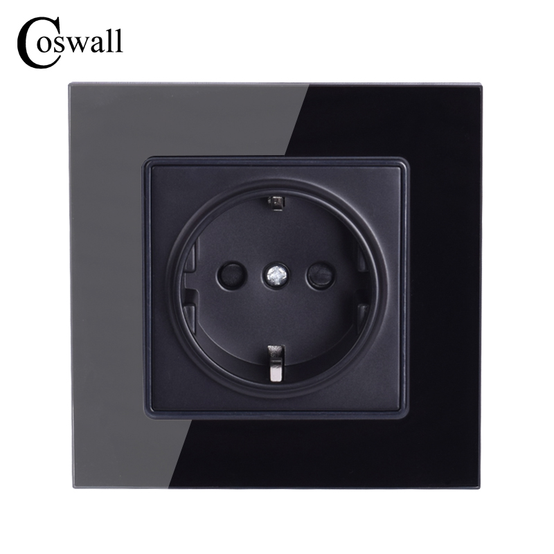 Coswall Wall Crystal Glass Panel Power Socket Plug Grounded, 16A Black EU Standard Electrical Outlet 86mm * 86mm