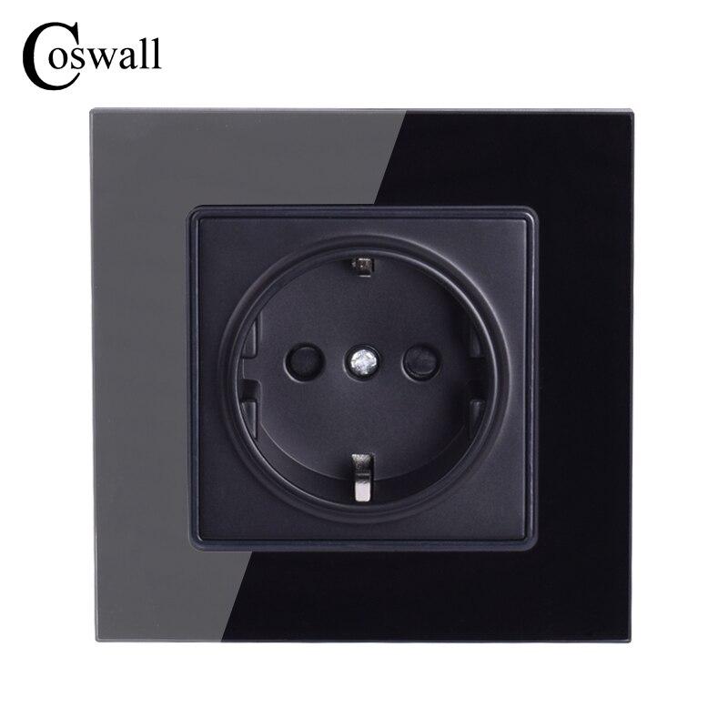 Coswall pared cristal Panel toma de corriente enchufe conectado a tierra, 16A negro EU enchufe eléctrico estándar 86mm * 86mm