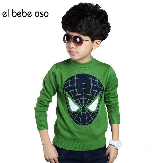 2015 NEW Boys Spring & Autumn Sweater Children's Handsome England Style 2 Colors Spider-Man O-neck Outerwear Top Kids XL635