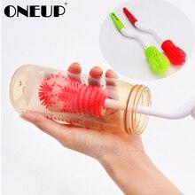 ONEUP силиконовая чашка щетка для чистки бутылочек щетка для мытья Вращающаяся ручка длинная ручка мягкая губка щетка для детских бутылочек