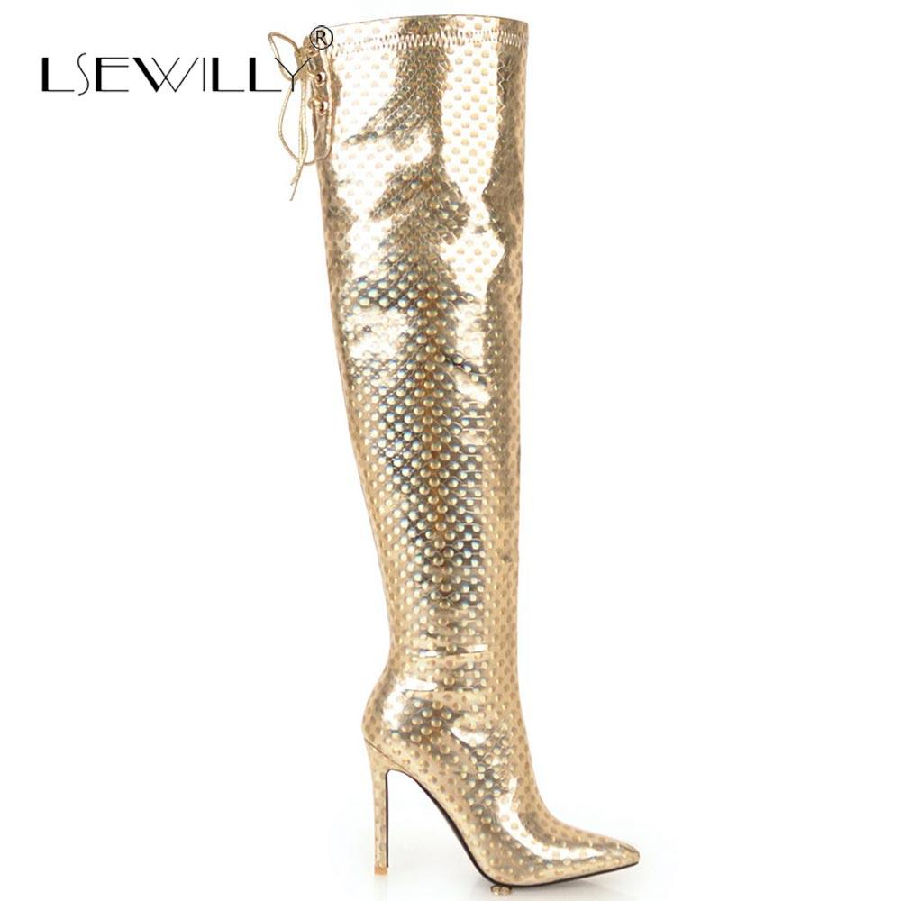 Bout E02 Mujer Haute Botas or Lsewilly Sur Genou Le Européenne Talons Argent Longues Zapato argent Tissu Or Pointu Paillettes Famale Bottes Noir Bnp7B0Uq
