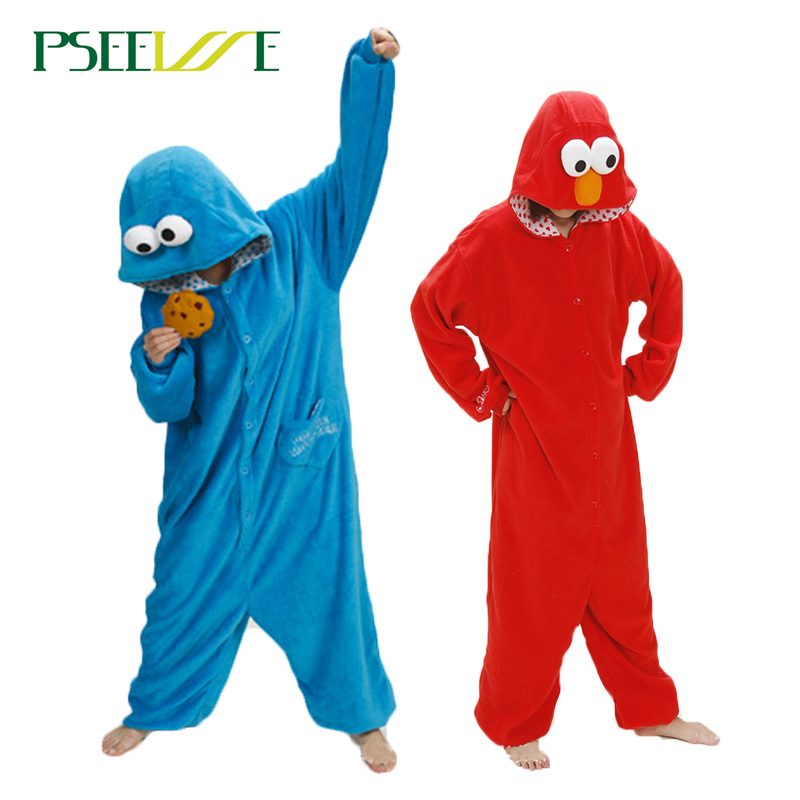 Kigurumi Adult Pajamas quality polar fleece Winter lemur Women Men Nightie Cartoon Sesame Street Pajama unicornio Sleepwear