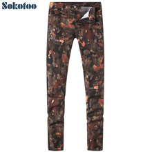 Sokotoo Men's fashion camouflage colored painted print jeans Slim straight stretch denim pants