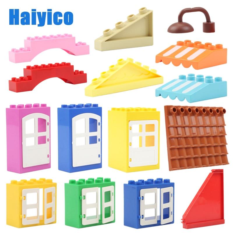 House Big Particles Building Blocks Accessories Compatible Duplos Set Bricks Eaves Window Door Roof Tiles Toys For Children Gift