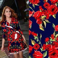LEO & LIN Vintage kleidung blau/weiß grünen blättern rote rose etwas elastischem satin Patchwork Baumwollgewebe tissus (1 meter)