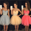 2016 New Short Prom Party Dresses Homecoming Graduation Gown A Line Sweet-heart Crystals Silver Watermelon Tulle Corset Cheap