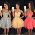 2016 nova curto Prom Party vestidos Homecoming graduação vestido A linha doce - cristais coração prata melancia Tulle do espartilho barato
