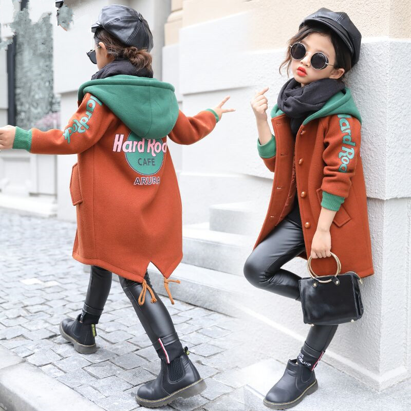 2018 Fall Winter Girls Woolen Coat Foreign Trade Children's Hooded Woollen Coat Kids Print Spliced Outerwear Casual Clothes X96 volie spliced letters print front pocket hooded long sleeves hoodie for men