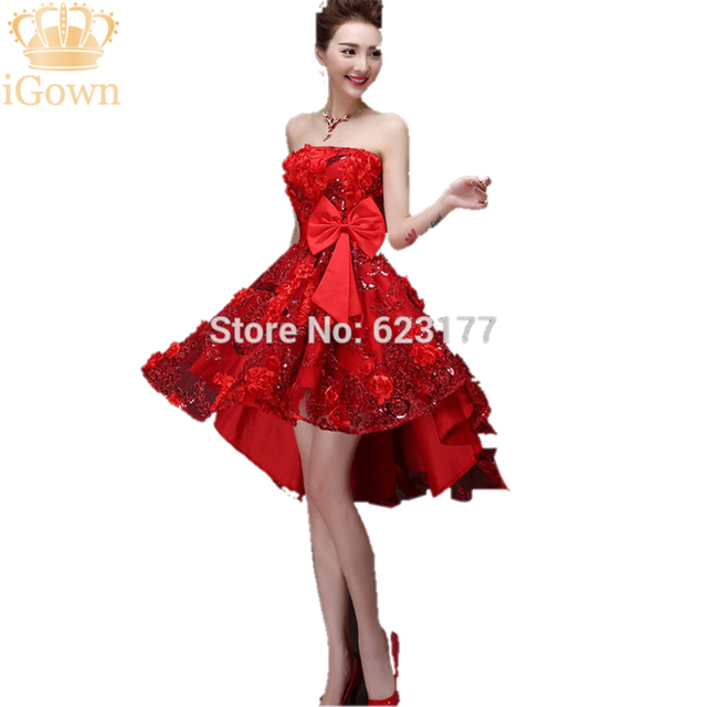 eb4b2846943 New 2017 Short Homecoming Dresses Sleeveless Short Front Long Back Red Homecoming  Dresses Bow Slim Homecoming