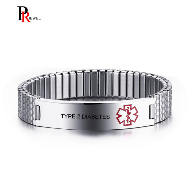 Customized Type 2 Diabetes Medical Alert Bracelet Free Engrave Personalized Id For Men