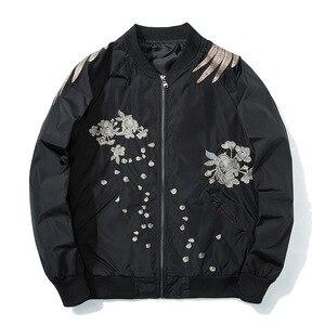 Image 5 - Primavera piloto bombardeiro jaqueta masculina feminino pássaro bordado jaqueta de beisebol moda casual jovens casais casaco japão streetwear