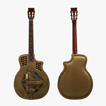 China Chrome Plated Bell brass O style Blues Slide Resonator Guitar with free case