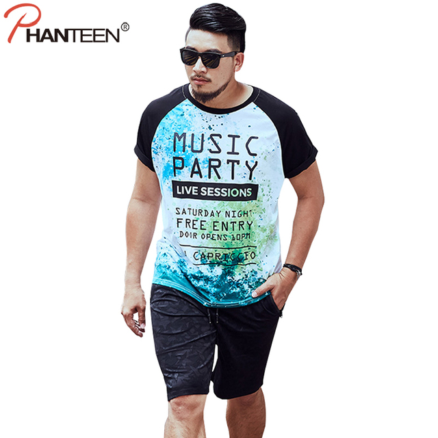 fb36a5f5c2a8a Phanteen Letter Print Patchwork T-shirts For Big Man Summer Short Sleeve Big  Size Casual T-shirts Fashion Men Plus Top Tees