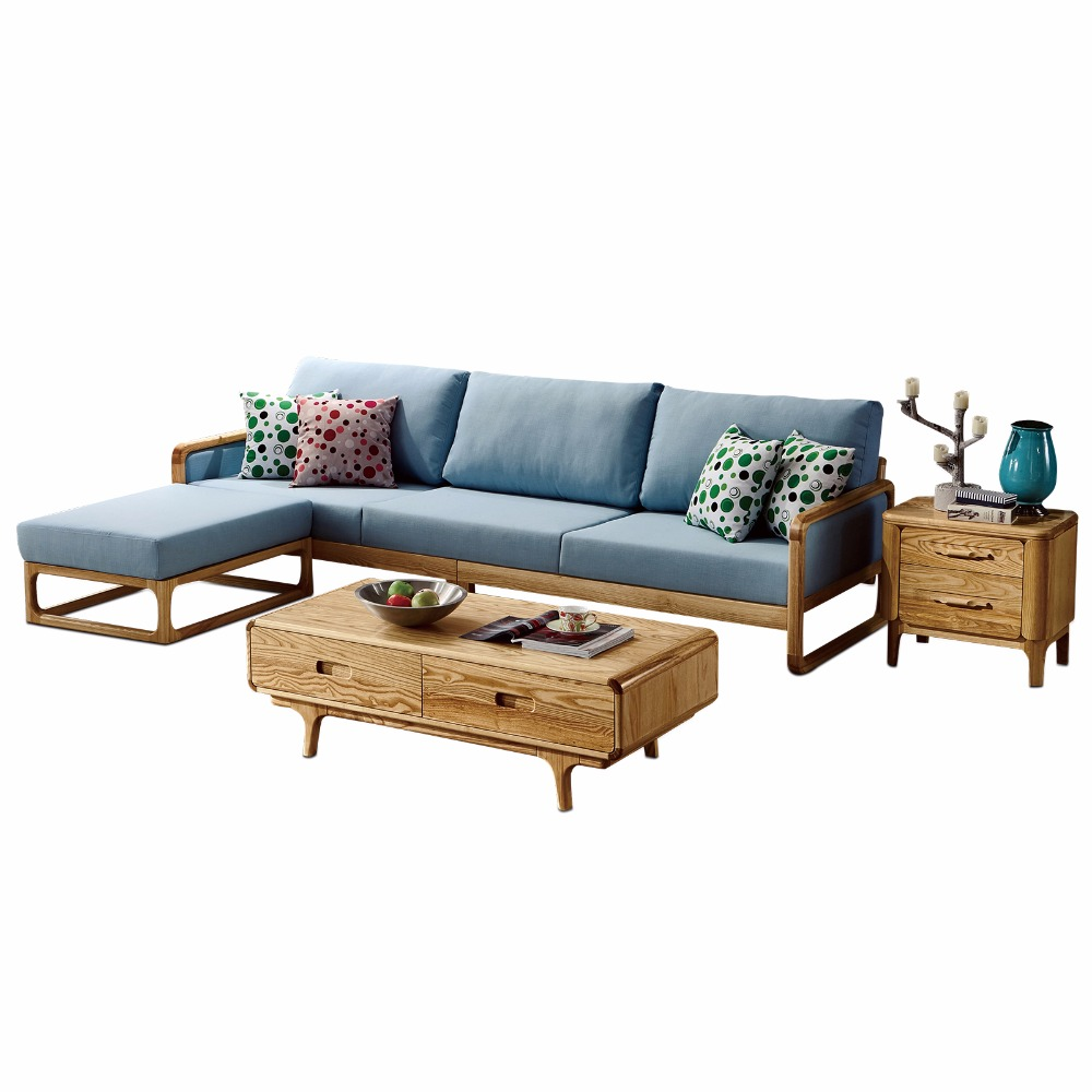 1801B65 Modern living room ash wood solid wood sofa set simple style fabric sofa оборудование распределения электроэнергии saipwell 1801 csd 1801