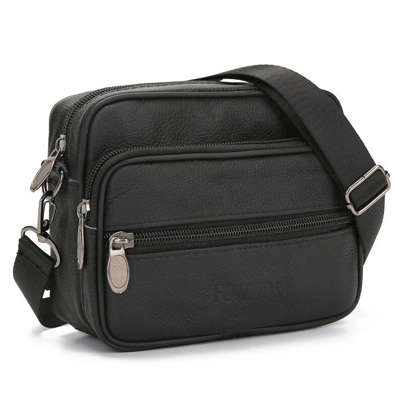 Fashion Mens Genuine Leather Shoulder Bag Small Crossbody Satchel Bag Zipper Travel Men Flap Leather Mini Messenger Bags Male