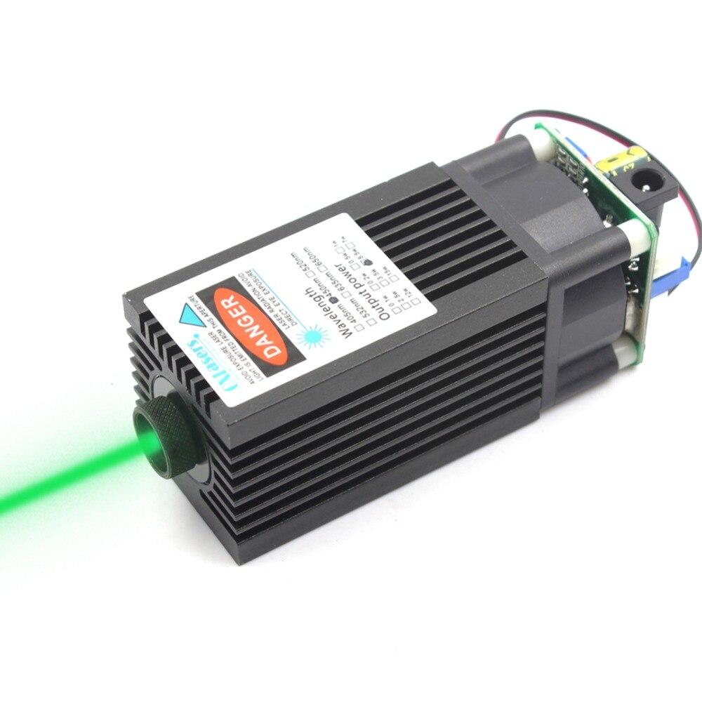 Láseres Ox FOCUSABLE1000mW TTL 520nm verde módulo láser 1 W ardiente enfocable cabeza láser puede grabar en papel de color oscuro 2PIN 12 V 12 V