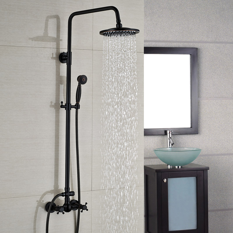 Wall Mount Dual Handle 8 inch Rainfall Bathroom Shower Set Faucet Oil Rubbed Bronze Finish new oil rubbed bronze wall mount bathroom kitchen faucet mier tap dual handle