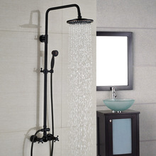Wall Mount Dual Handle 8 inch Rainfall Bathroom Shower Set Faucet Oil Rubbed Bronze Finish