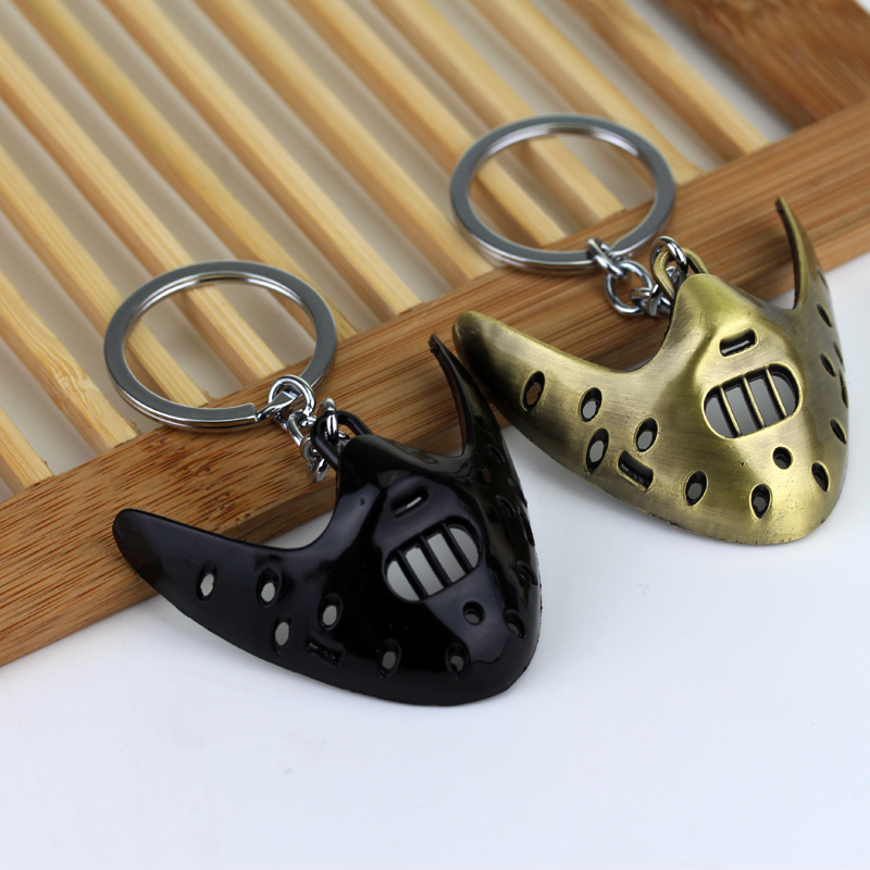 Classic Thriller Movie The Silence of the Lambs 3D Mask Keychain Hannibal Mask Key chain Metal Keychain Keyring New For Men image