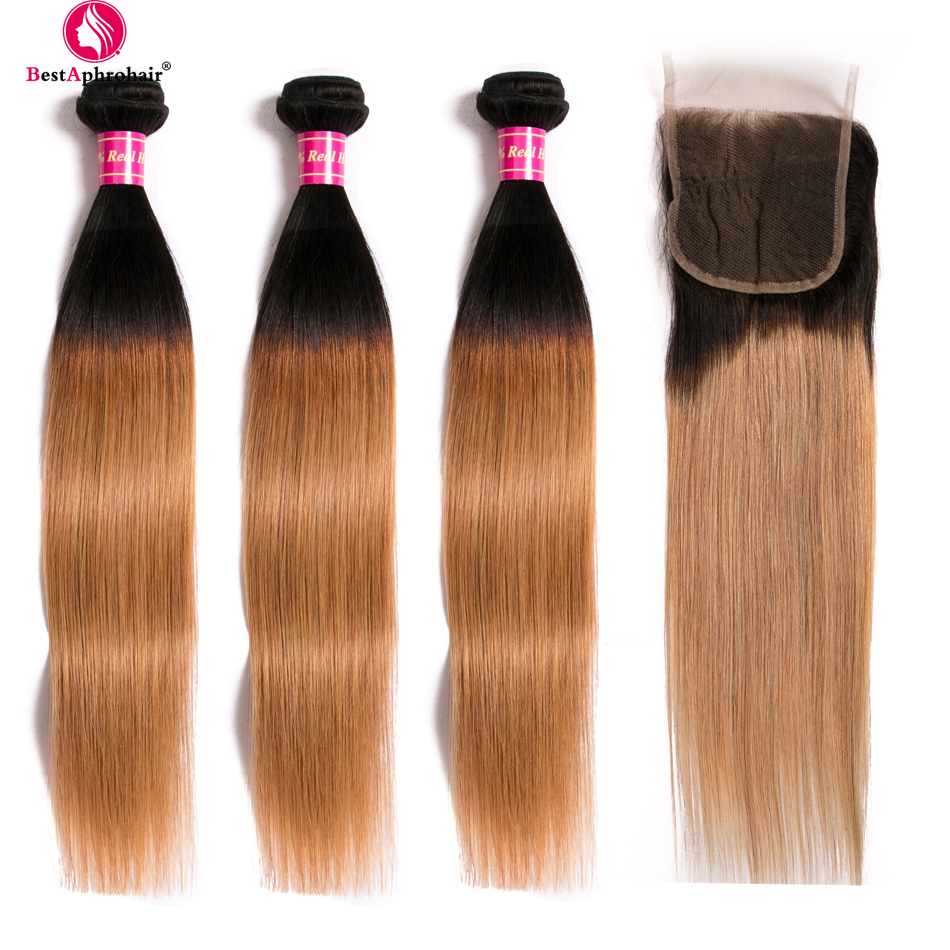 Aphro Hair Peruvian Straight Hair Bundles With Closure T1b 27 Colored Ombre Bundles With Closure 4pcs