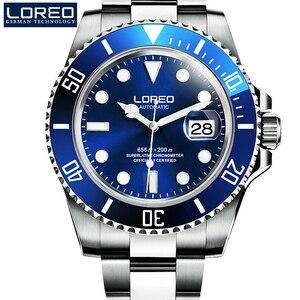 Image 2 - Yeni LOREO su hayalet serisi klasik mavi Dial lüks erkekler otomatik saatler paslanmaz çelik 200m su geçirmez mekanik saat