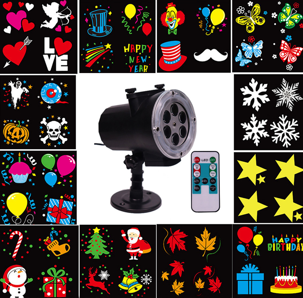 Thrisdar 12 Pattern Christmas Snowflake Laser Projector Light Waterproof Disco Stage Light Home Garden Landscape Star Spotlight christmas ball snowflake clock pattern waterproof table cloth