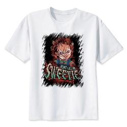 Chucky T Shirt mężczyźni wysokiej jakości fajne Streetwear mężczyźni T-shirt na co dzień Horror Tshirt Chucky drukuj O-Neck mężczyzna odzież 3
