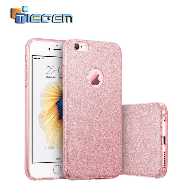 Phone Cases for iPhone 6 Plus Bling Glitter Gradient Case Silicone + PC Women  Cases for iPhone 6 6S Phone Bags   Cases-in Half-wrapped Case from  Cellphones ... 35cfc2f277