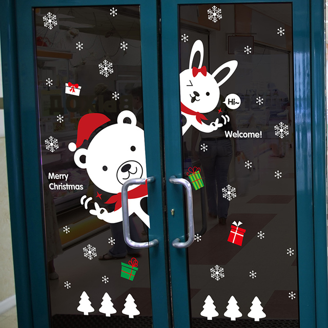 Happy New Year Cute Bear Rabbit Wall Sticker Glass Showcase Decorative  Stickers Door Decals Murals Christmas