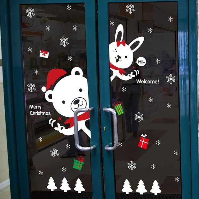 Happy New Year Cute Bear Rabbit Wall Sticker Glass Showcase