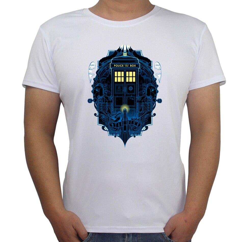 Mens T Shirt Galaxy Police Box Printed T Shirt Creative Design Male